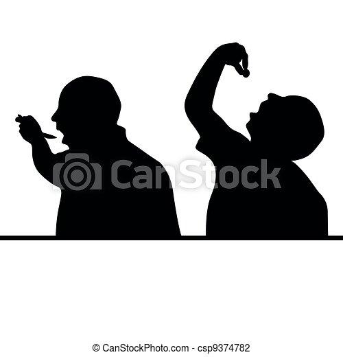 Vector Illustration of man eat silhouette - man in black silhouette ...