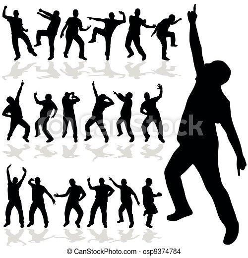 man dancing vector silhouette - csp9374784