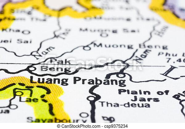 close of luang prabang on map, Laos - csp9375234