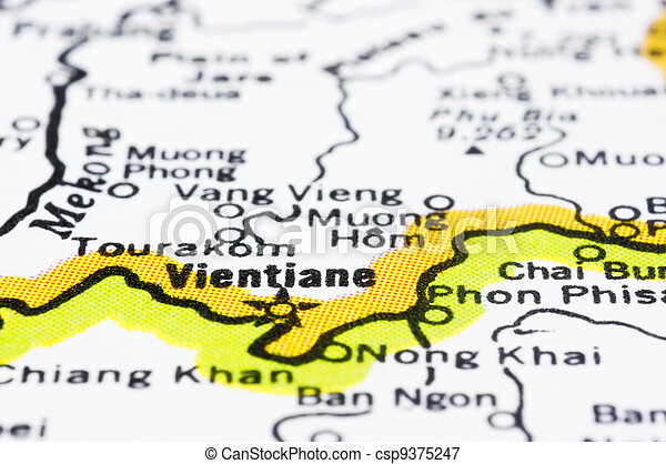 close up of Vientiane on map, Laos. - csp9375247