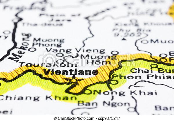 close up of Vientiane on map, Laos. - csp9375247