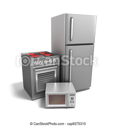 Kitchen electronics over white - csp9375310