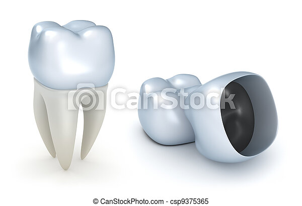 Dental crowns and tooth, isolated - csp9375365