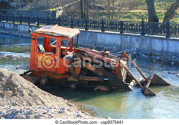 Drowned tractor - csp9375441