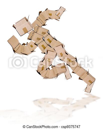 Running man made of boxes - csp9375747
