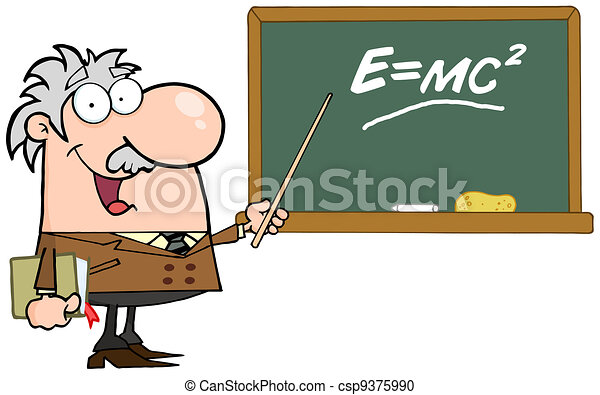 Professor Pointing To Green Board - csp9375990