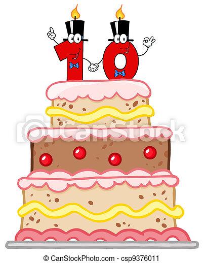 Clip art vecteur de anniversaire g teau ou mariage g teau nombre dix csp9376011 - Gateau anniversaire fille 10 ans ...
