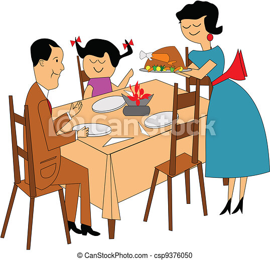 Vector Clipart of family dinner - family sitting at table in retro style... csp9376050 - Search ...