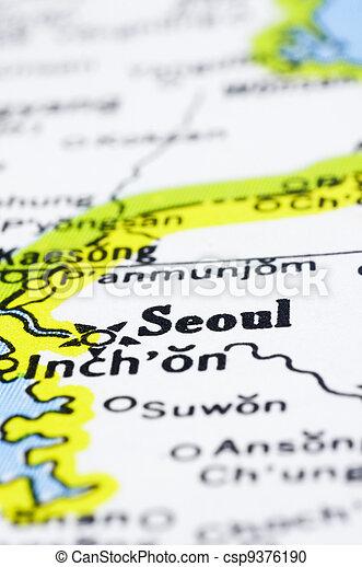 close up of Seoul on map, korea - csp9376190