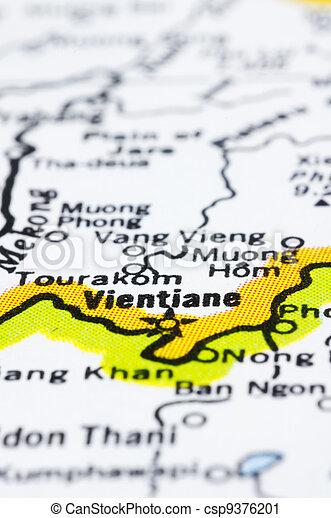 close up of vientiane on map, Laos - csp9376201