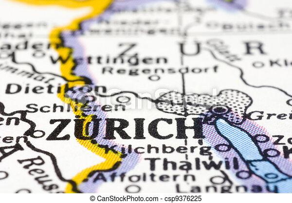 close up of Zurich on map, Switzerland - csp9376225