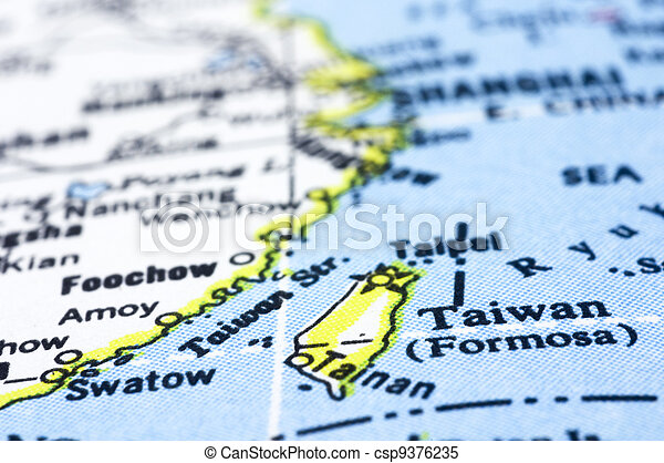 close up of taiwan on map - csp9376235
