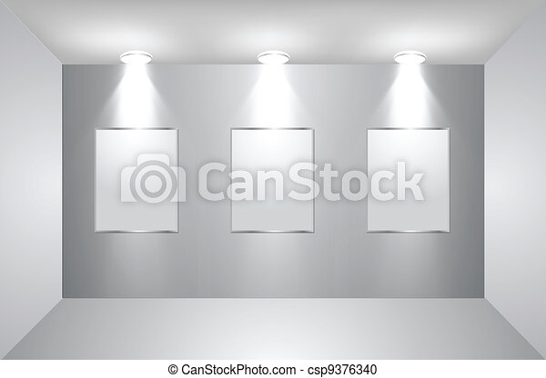 Gallery Interior with empty frames on wall. Vector - csp9376340