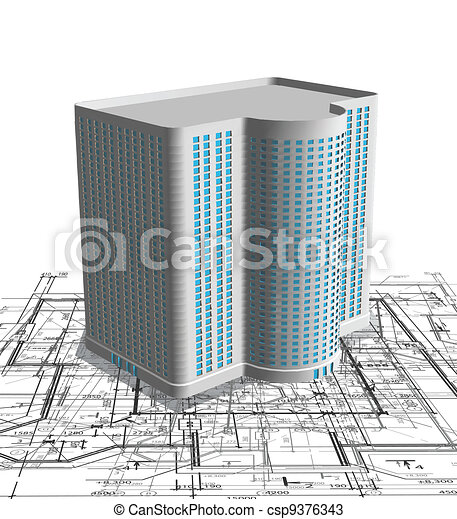 Modern white building on blueprint. Vector - csp9376343