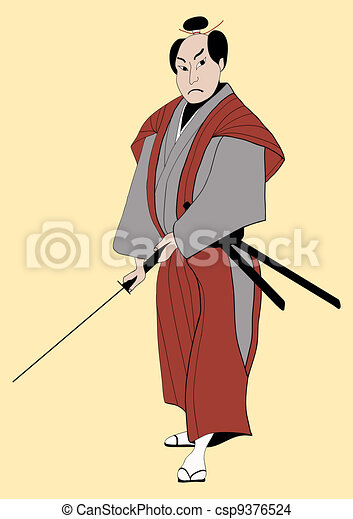samurai with sword - csp9376524