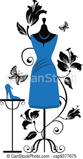 Mannequin for tailors with dress ang shoes - csp9377675