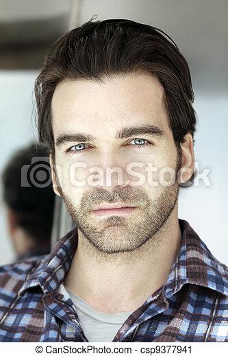 Close up portrait of man face - csp9377941