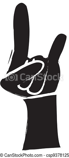 Clipart Vector of Rock And Roll Sign Silhouette - simple ...