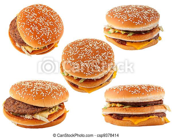 fast food. Group hamburger isolated on white - csp9378414