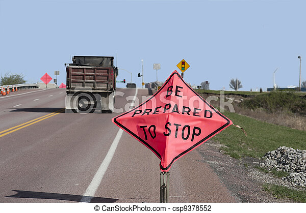 Be Prepared to Stop Sign and Truck - csp9378552