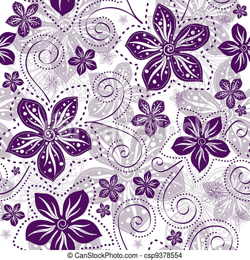 Seamless white-violet floral pattern - csp9378554