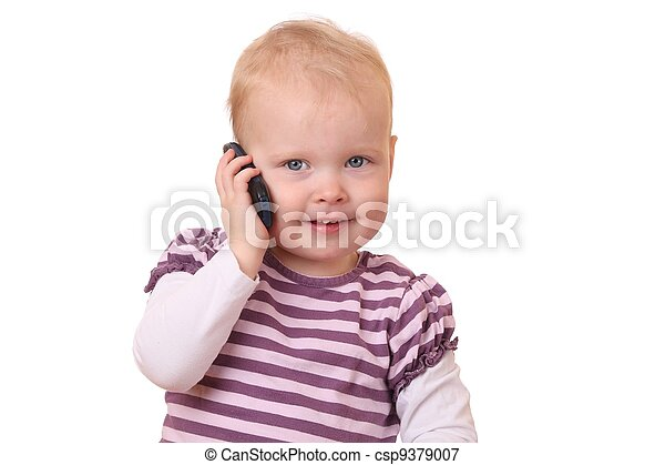 Toddler with phone - csp9379007