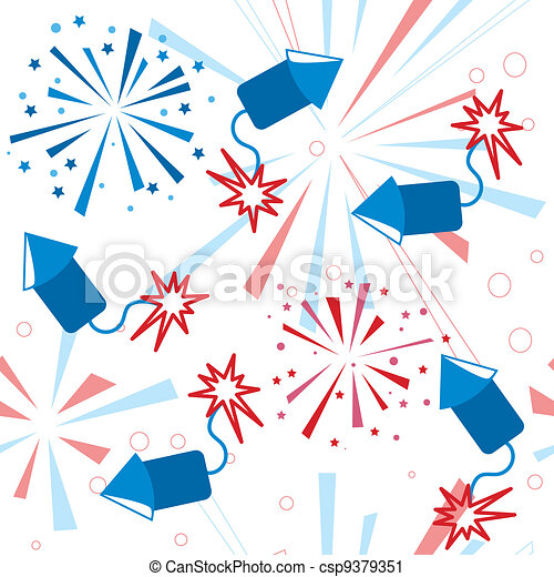Holiday fireworks seamless pattern - csp9379351