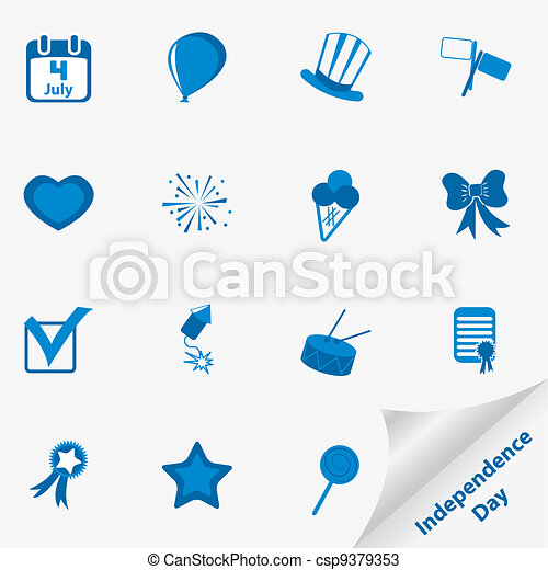 Icon set for Independence Day - csp9379353