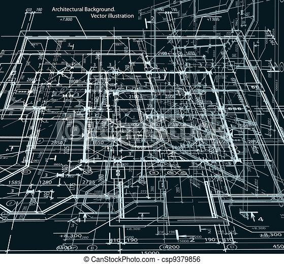 Blueprint abstract dark background. Vector - csp9379856