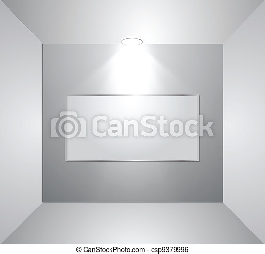 Empty gallery wall with light. Vector - csp9379996