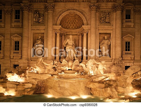 Trevi Fountain at night, Rome.