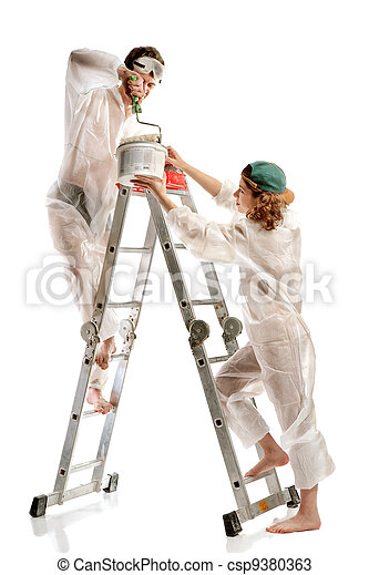 Attractive young adult couple painting - csp9380363