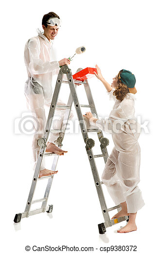 Attractive young adult couple painting - csp9380372