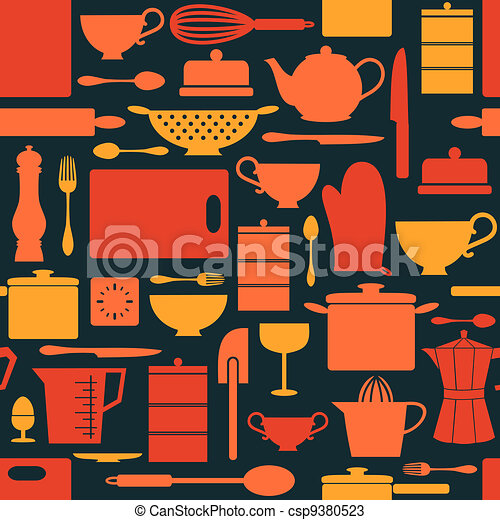 Retro Kitchen Background - csp9380523
