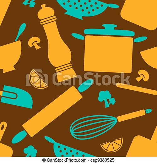 Retro Kitchen Background - csp9380525