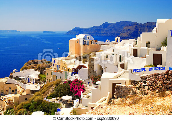 Beautiful landscape view (Santorini Island, Greece) - csp9380890