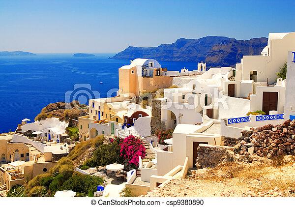 Beautiful landscape view (Santorini Island, Greece) - csp9380890