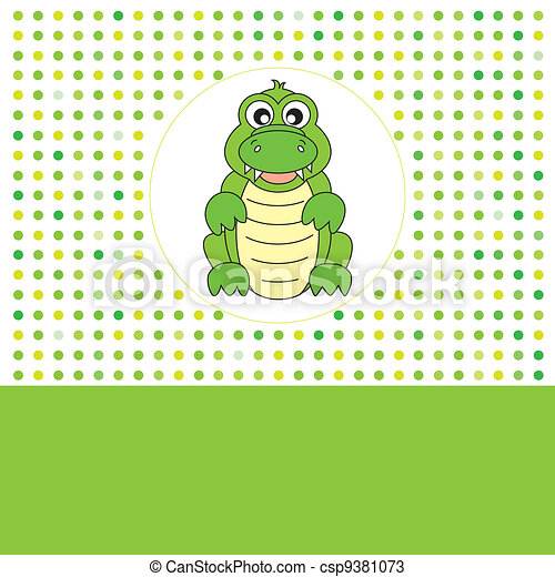 Fun card animals. crocodile - csp9381073