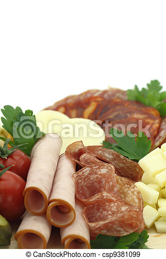 Meat delicatessen plate with cheese - csp9381099