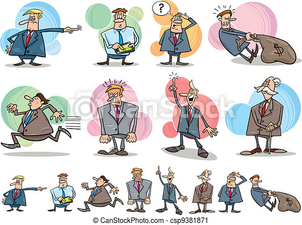 funny businessmen set - csp9381871