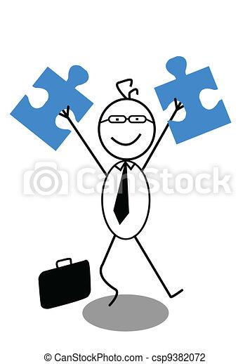 businessman and Jigsaw - csp9382072