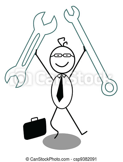 Businessman Happy and Wrench - csp9382091