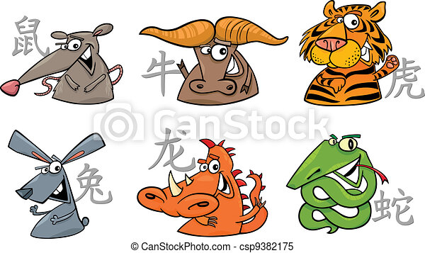 Clipart Vector of six chinese zodiac signs - cartoon illustration ...