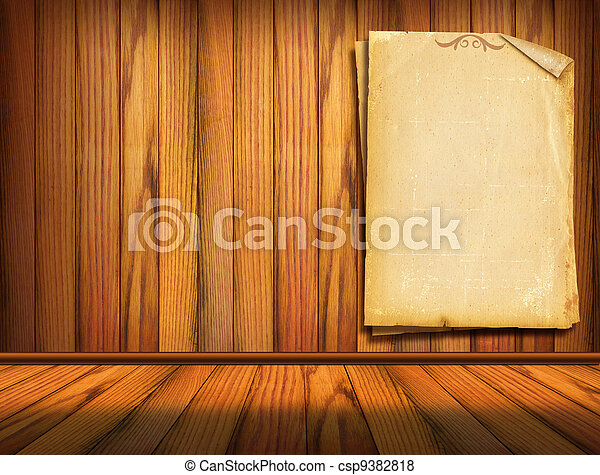 Old papers on wood wall. Background for design - csp9382818