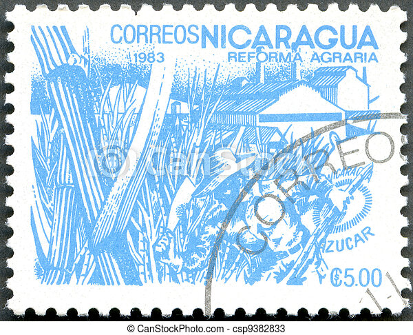 NICARAGUA - 1983: shows image of agrarian reform, Sugar - csp9382833