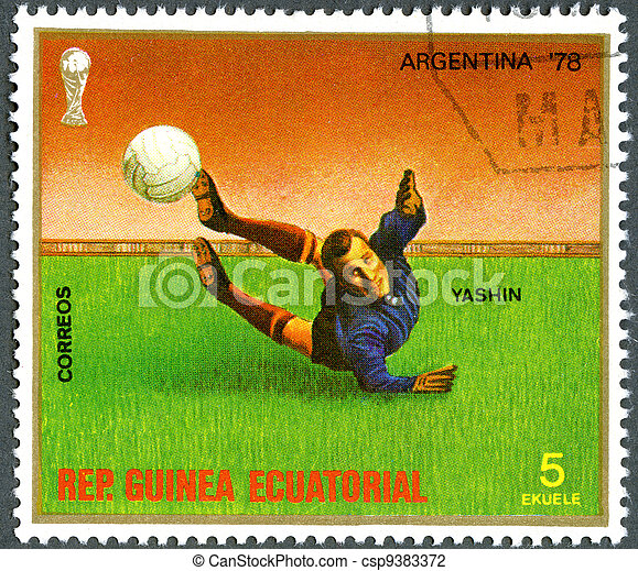 REPUBLIC OF EQUATORIAL GUINEA - CIRCA 1977: A stamp printed in Republic of Equatorial Guinea, devoted World Cup Soccer Championships, Argentina '78, shows Yashin, circa 1977 - csp9383372