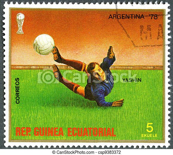 REPUBLIC OF EQUATORIAL GUINEA - CIRCA 1977: A stamp printed in Republic of Equatorial Guinea, devoted World Cup Soccer Championships, Argentina '78, shows Yashin, circa 1977 - csp9383372