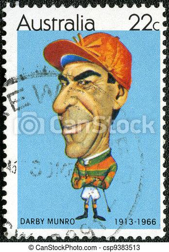 australia, munro, 1981, estampilla, darby, -, deportistas, (1913-1966), jinete, rafty):, impreso, 1981:, tony, australiano, hacia, (caricatures, exposiciones - csp9383513