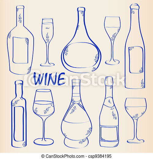 Wine Bottles and Glasses Icon Set - csp9384195