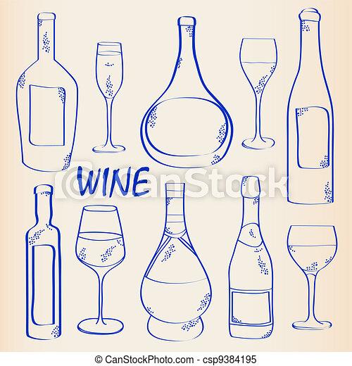 Wine Bottles and Glasses Icon Set - csp9384195